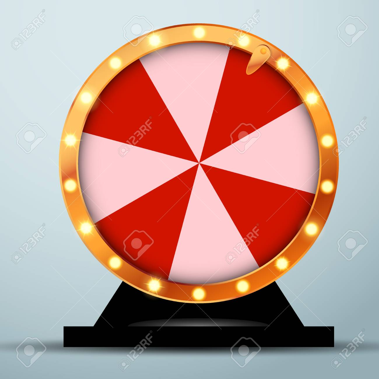 Lottery online casino fortune wheel in golden circle with red and white stripes. Realistic spinning bright roulette. Vector illustration - 87723047