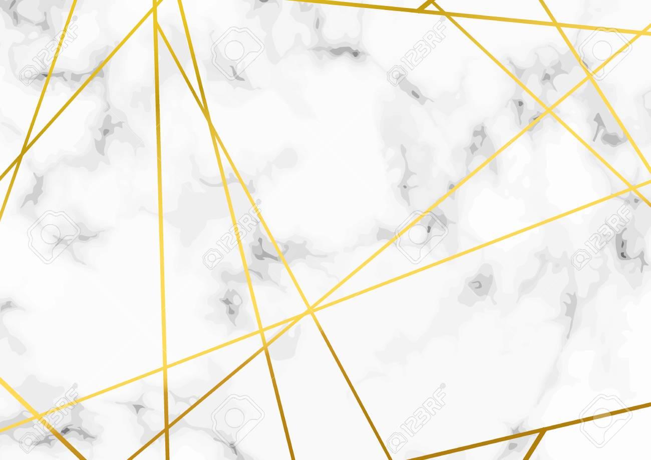 Thin minimal golden metallic triangle line pattern over marble layout. Vector illustration - 103217462
