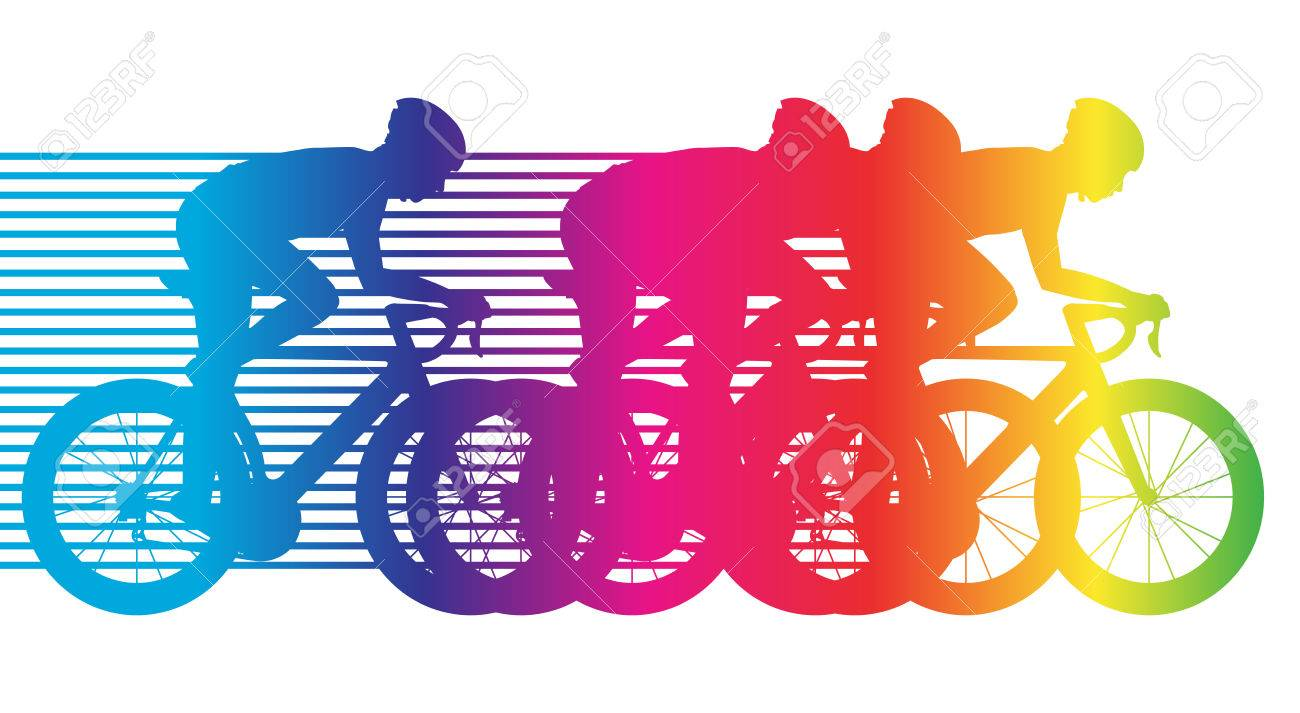 colorful bicycle riding group of cyclists road bike flat design rh 123rf com Coloring Clip Art Publuic Transit Clip Art