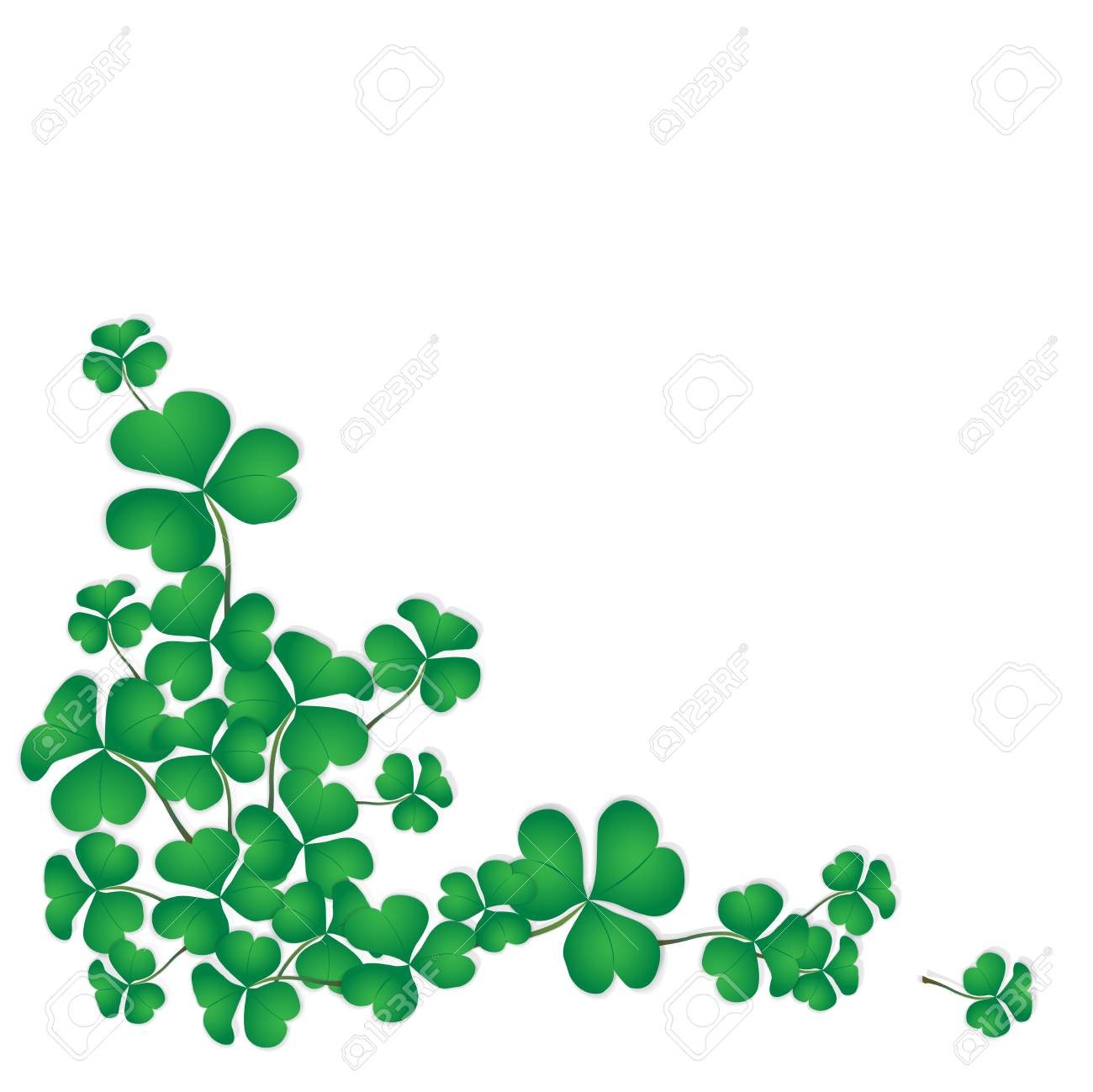 shamrock design with white space background for saint patricks day green clovers corner isolated on