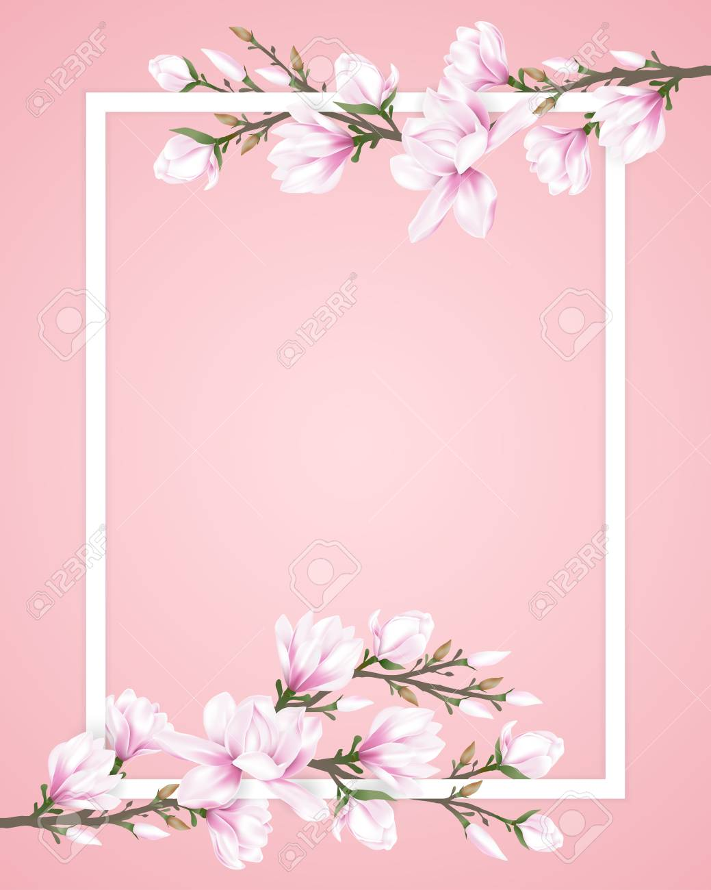 White Frame Decorated With Pink Magnolia Flower Branches On Sweet