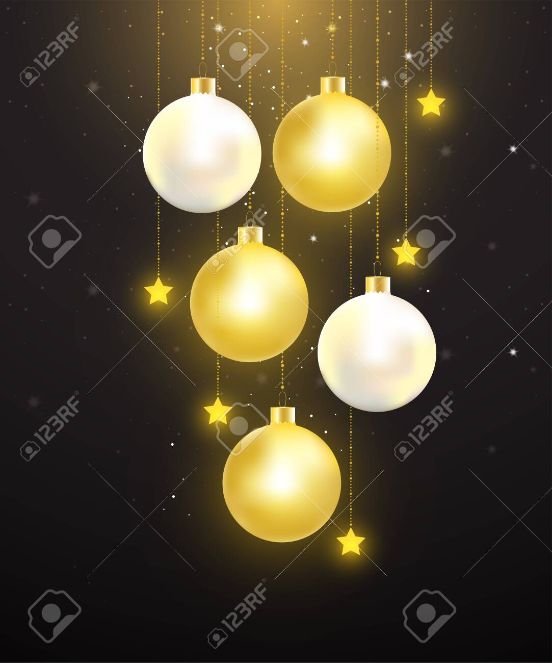 Christmas balls with gold and pearl color hanging on starry night background. Vector illustration for Christmas and New year celebration. - 134716952