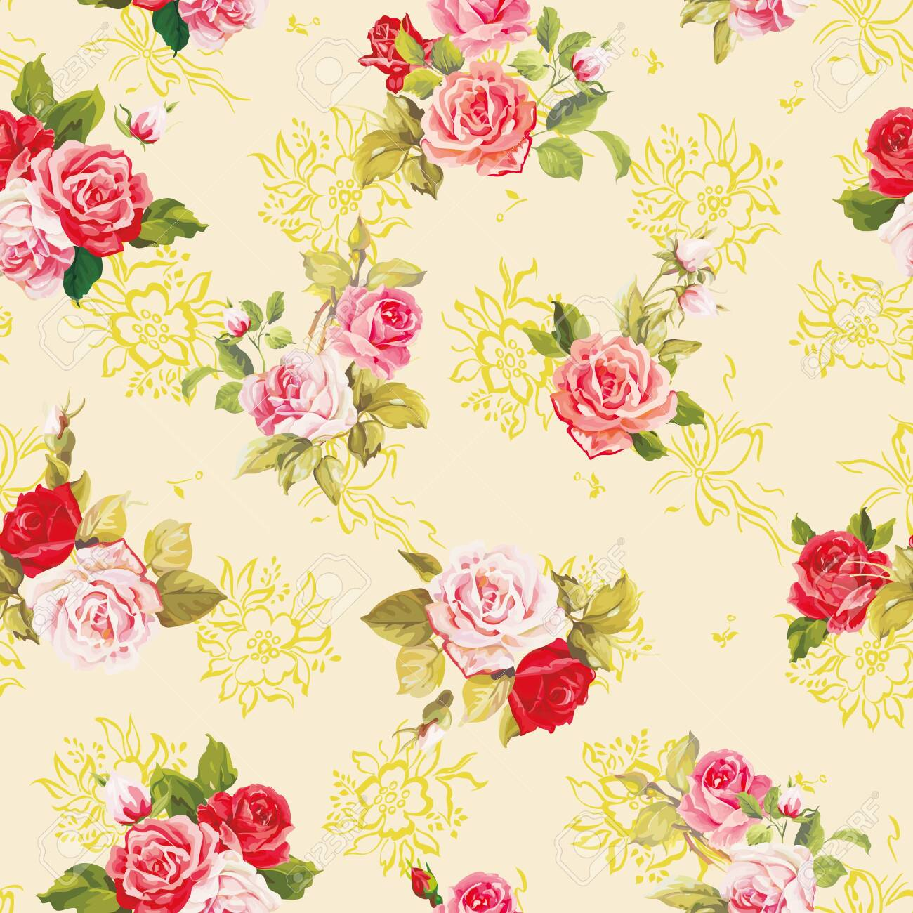 Elegance texture with roses. Stylish beautiful floral seamless pattern. - 134274513