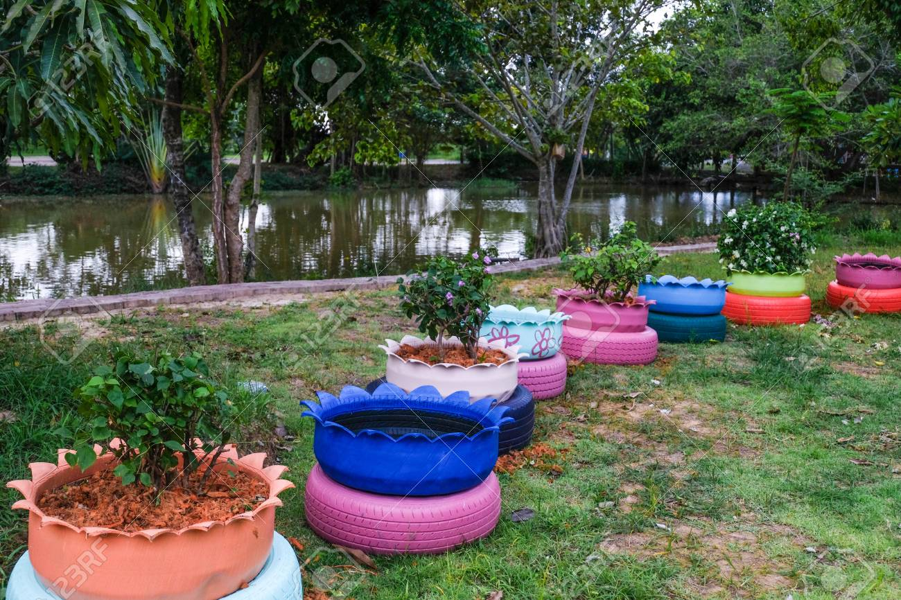 Colored Green Planters Made From Recycled Tires Stock Photo   105467353