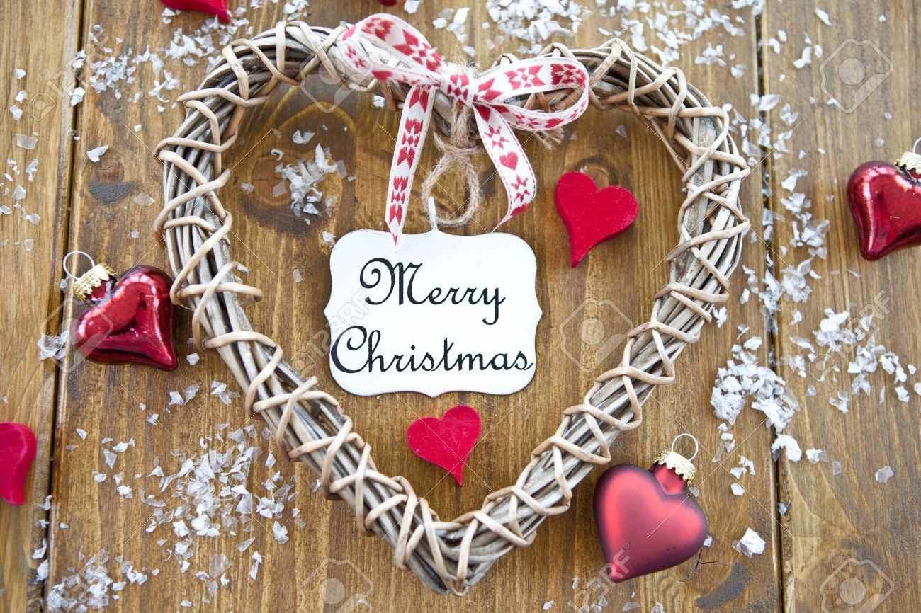 Wooden Heart With A Vintage Plate With Merry Christmas Written ...