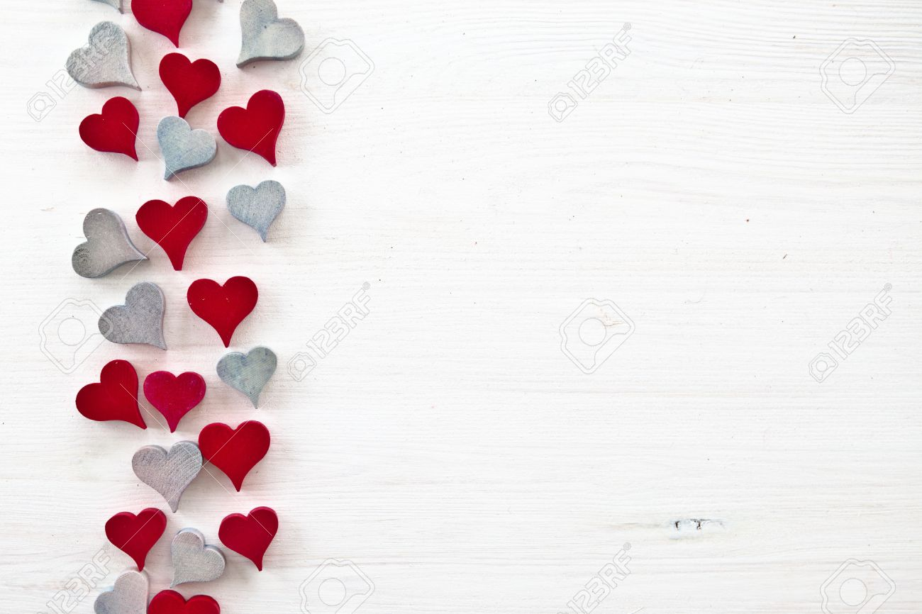 Decorative background with wooden hearts Stock Photo - 16255116