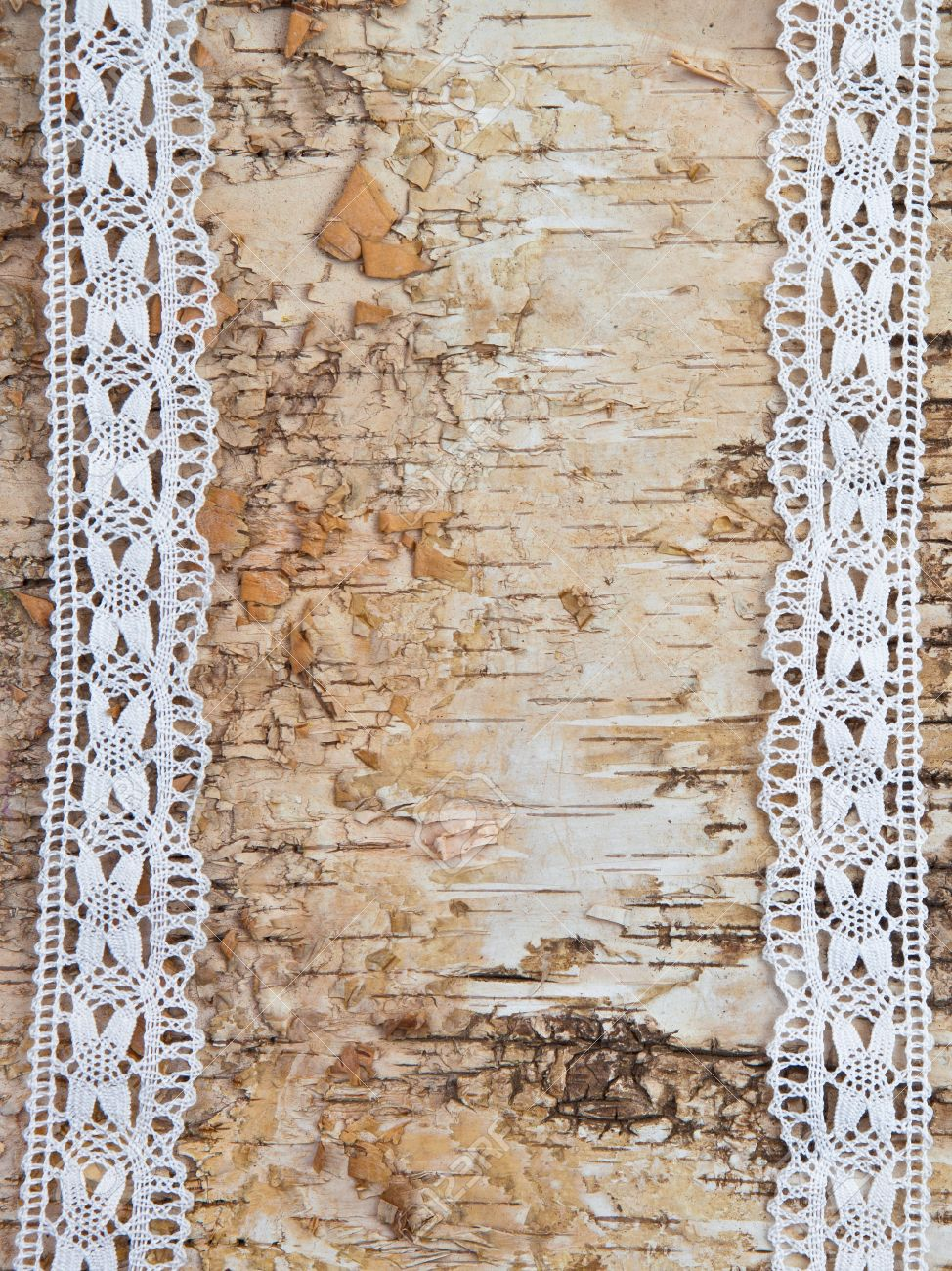 Wooden Birch Background With White Lace Border Stock Photo Picture