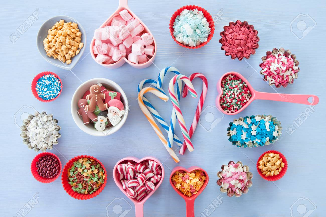 Colorful Variety Of Christmas Sprinkles And Sugar Decorations