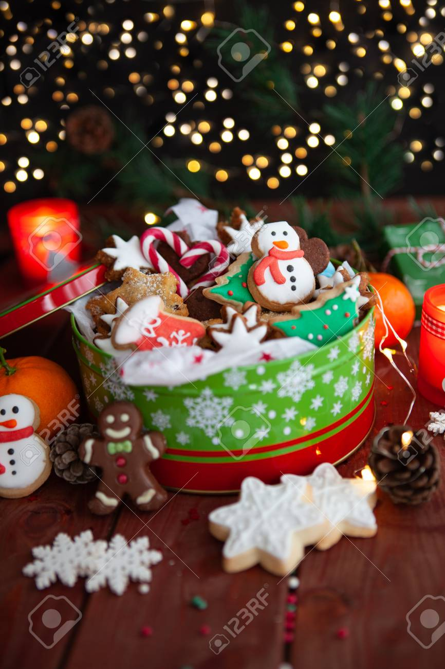 Festive Cookie Jar With Beautifully Decorated Christmas Cookies