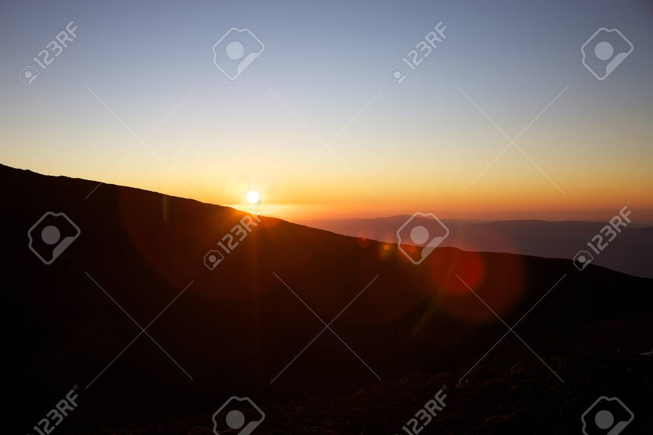 Sunset on the Etna with clear sky Stock Photo - 12579672