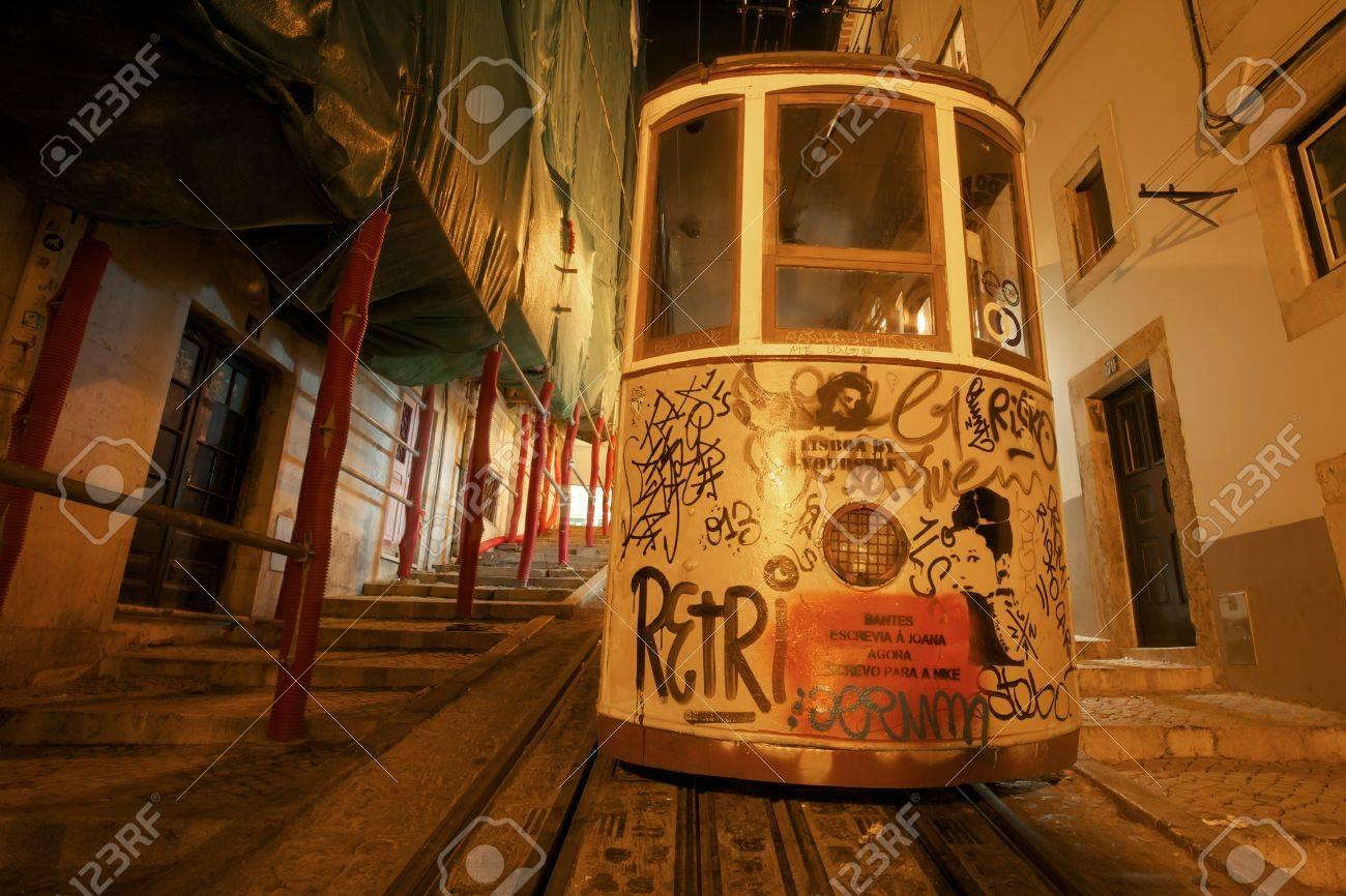 The Bica Elevator Goes Up The Street In Lisbon Bairro Alto Lisbon