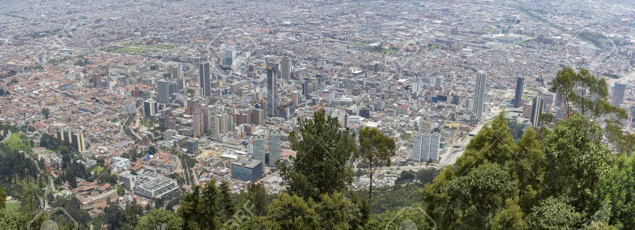 BOGOTA, COLOMBIA, MAY 3: Aerial view of the city of Bogota taken from the top of Cerro de Monserrate. Colombia 2015 - 45087123