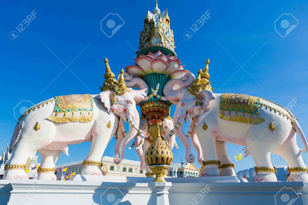 The Statues Of Three Elephants Are A Symbol Of King And Located