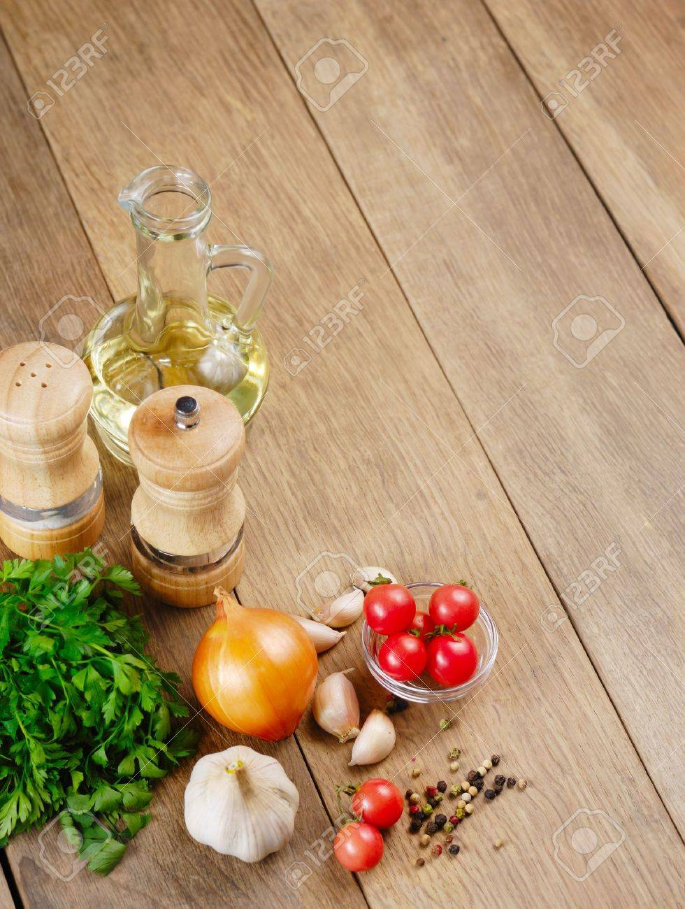 Kitchen Table With Food Food Ingredients On The Kitchen Table Closeup Shot Stock Photo