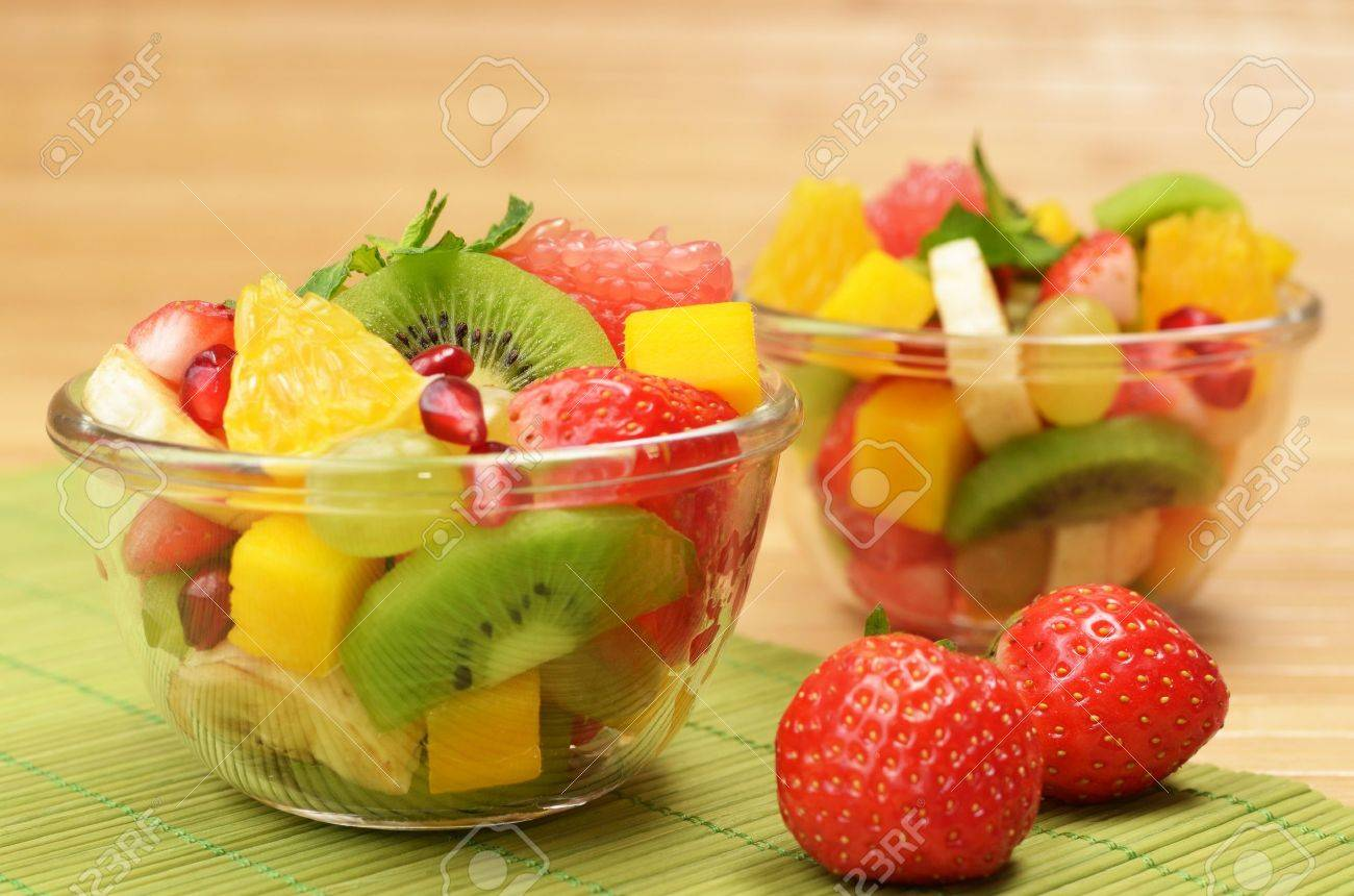 Healthy fruit salad in the glass bowl Stock Photo - 11970195