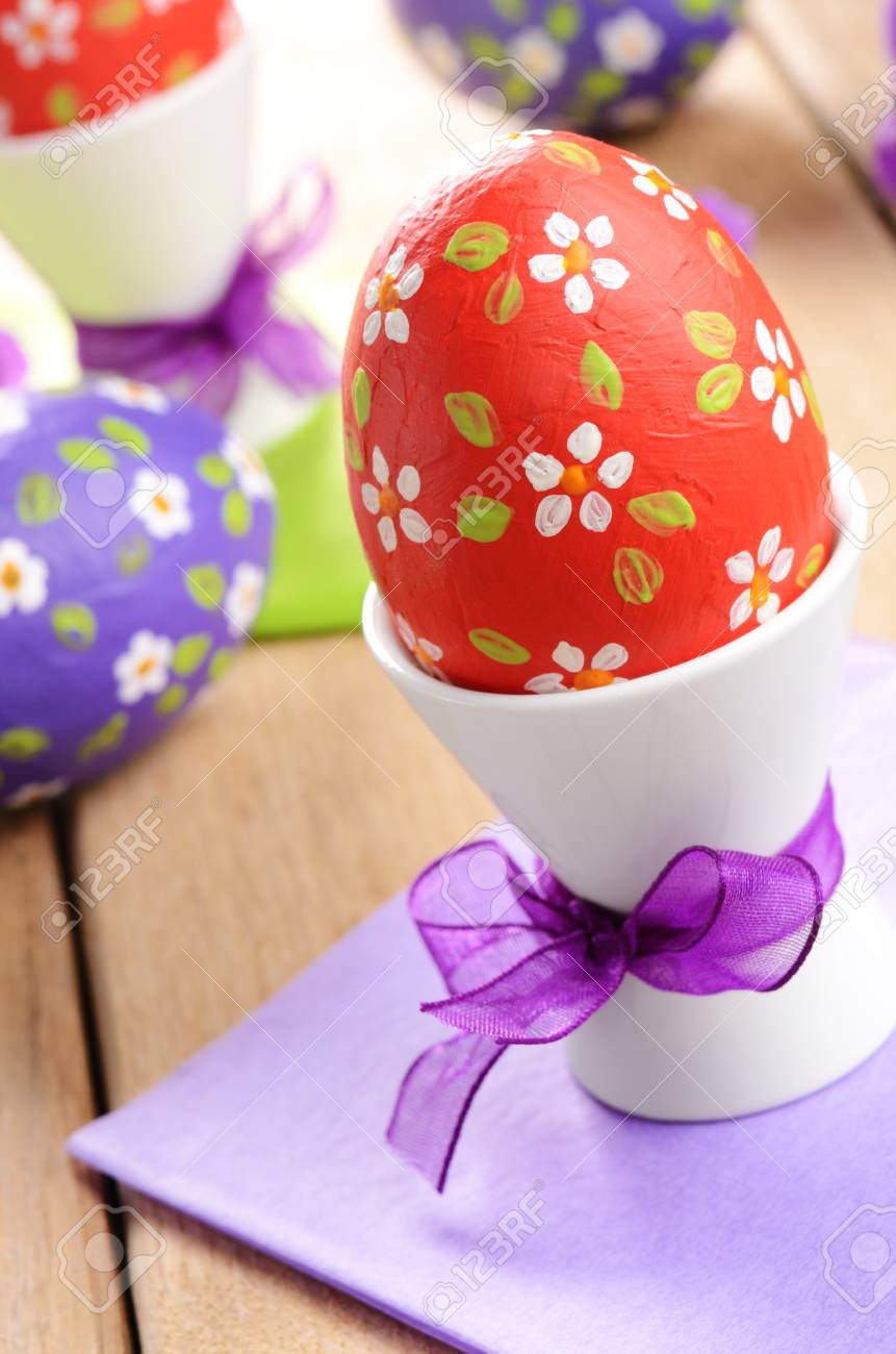 Hand crafted easter eggs on the wooden table Stock Photo - 15995436