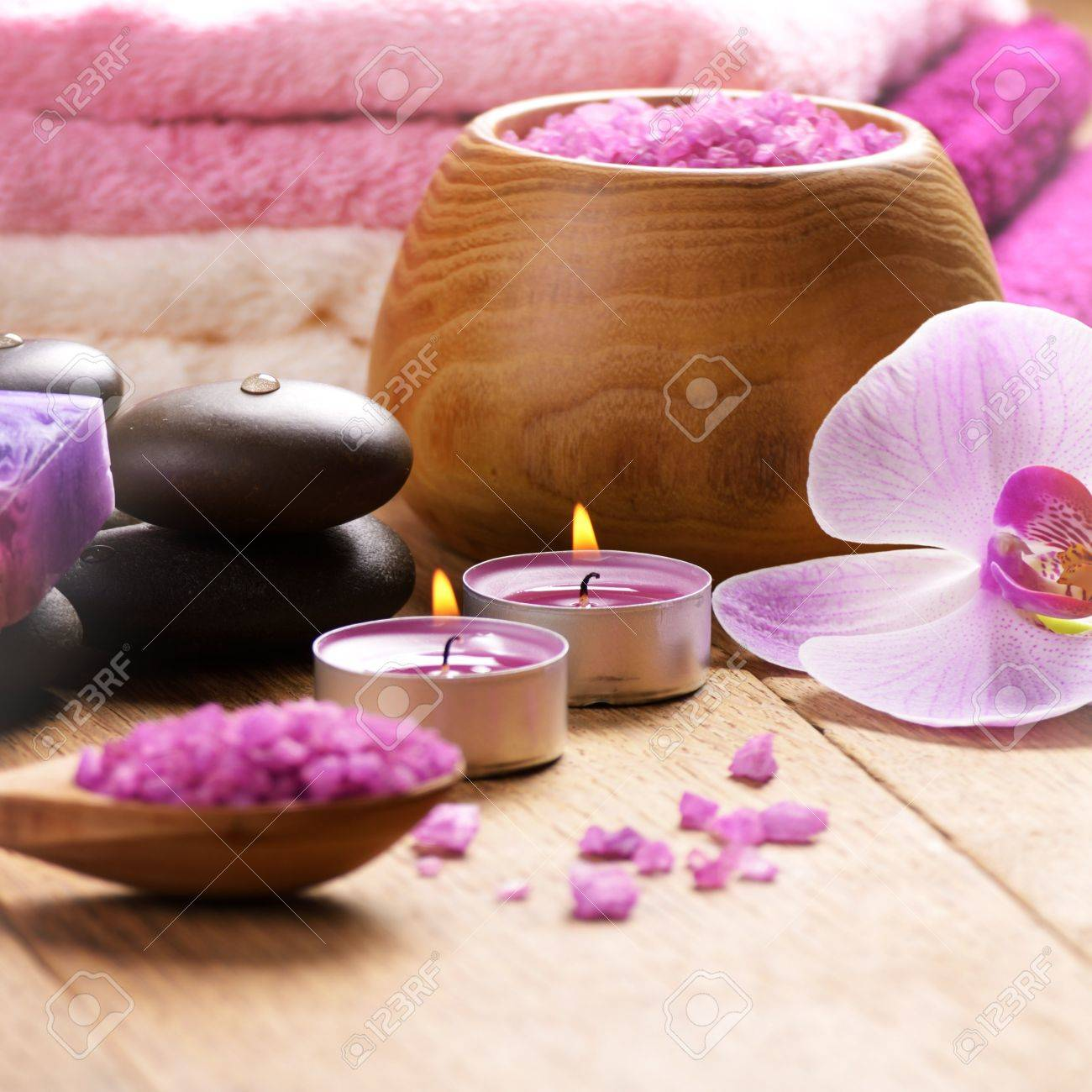 Lavender spa set of salt stones and candle Stock Photo - 18512570