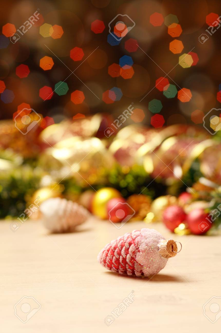 new year theme decorations with focus on fir cones stock photo 83089184