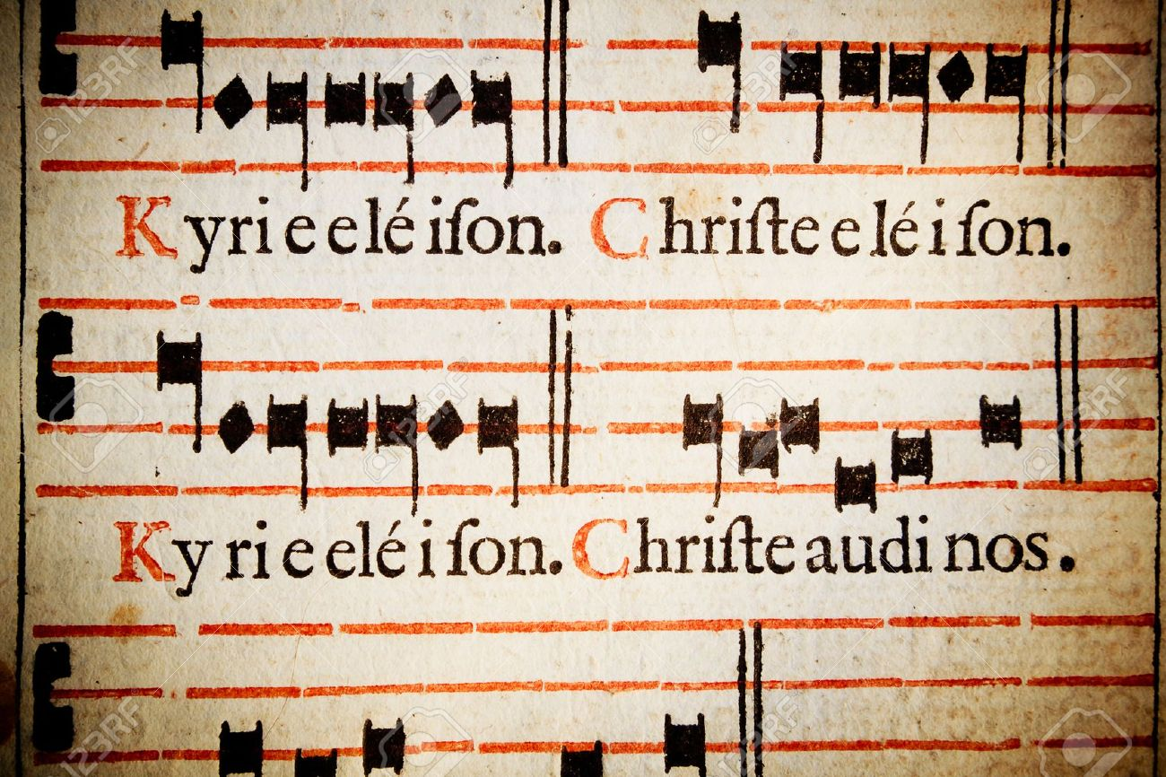 Kyrie Eleison Christe eleison Lord have mercy, Christ have mercy From a 17th century Italian missal Roman Catholic mass rites, in Latin - 13884533