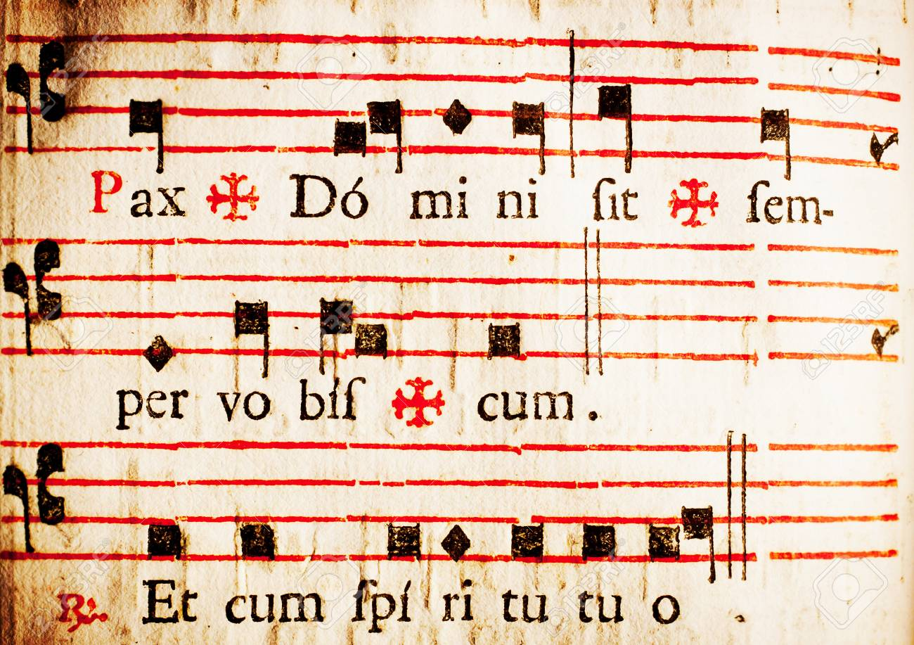Pax Domini sit semper vobiscum Et cum spiritu tuo The peace of the Lord be with you always And with you also Part of the dismissal rite to the congregation in Latin Catholic mass From a 17th century Italian missal - 13884499