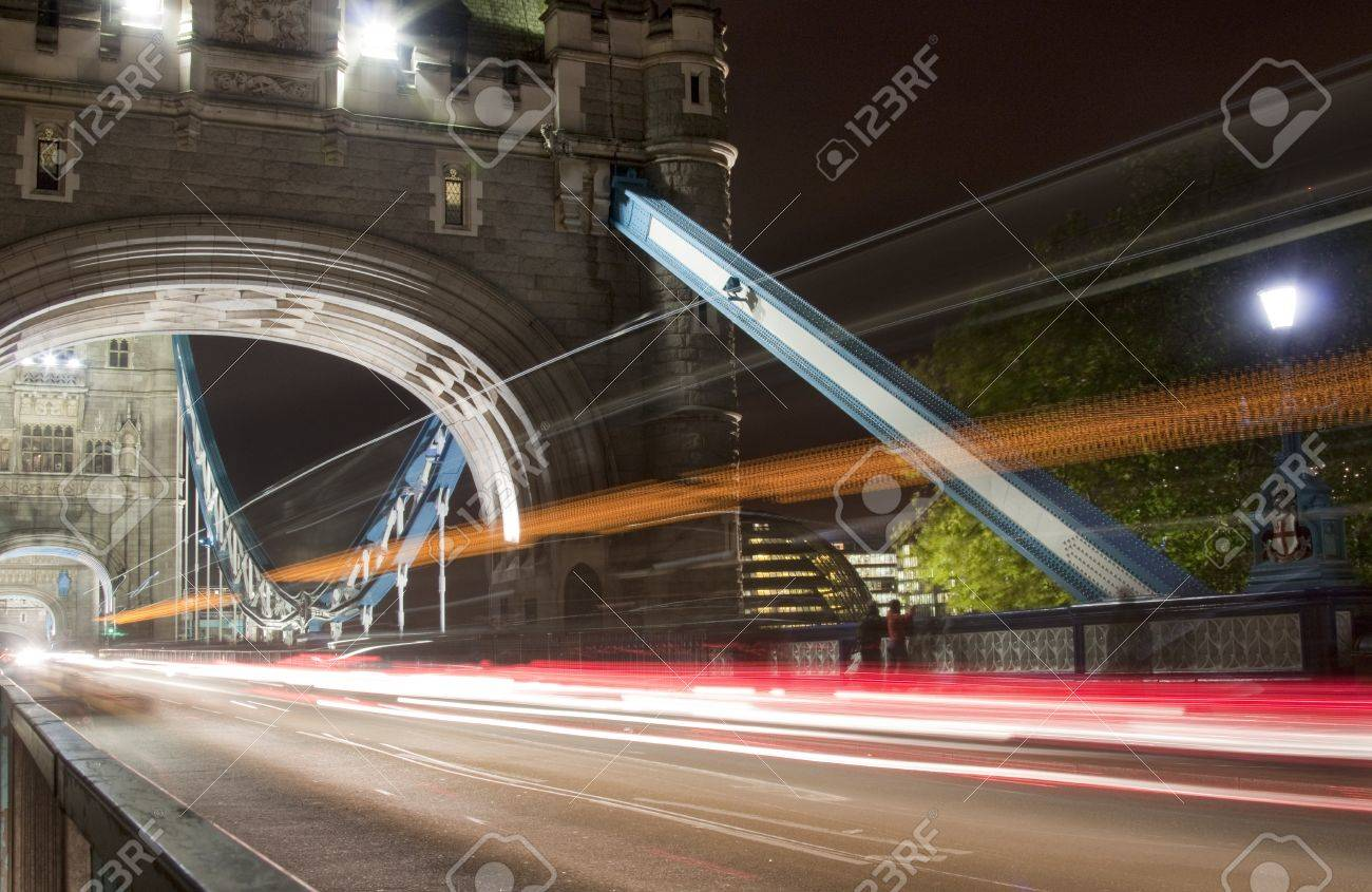 Tower bridge with light trails - 13929371