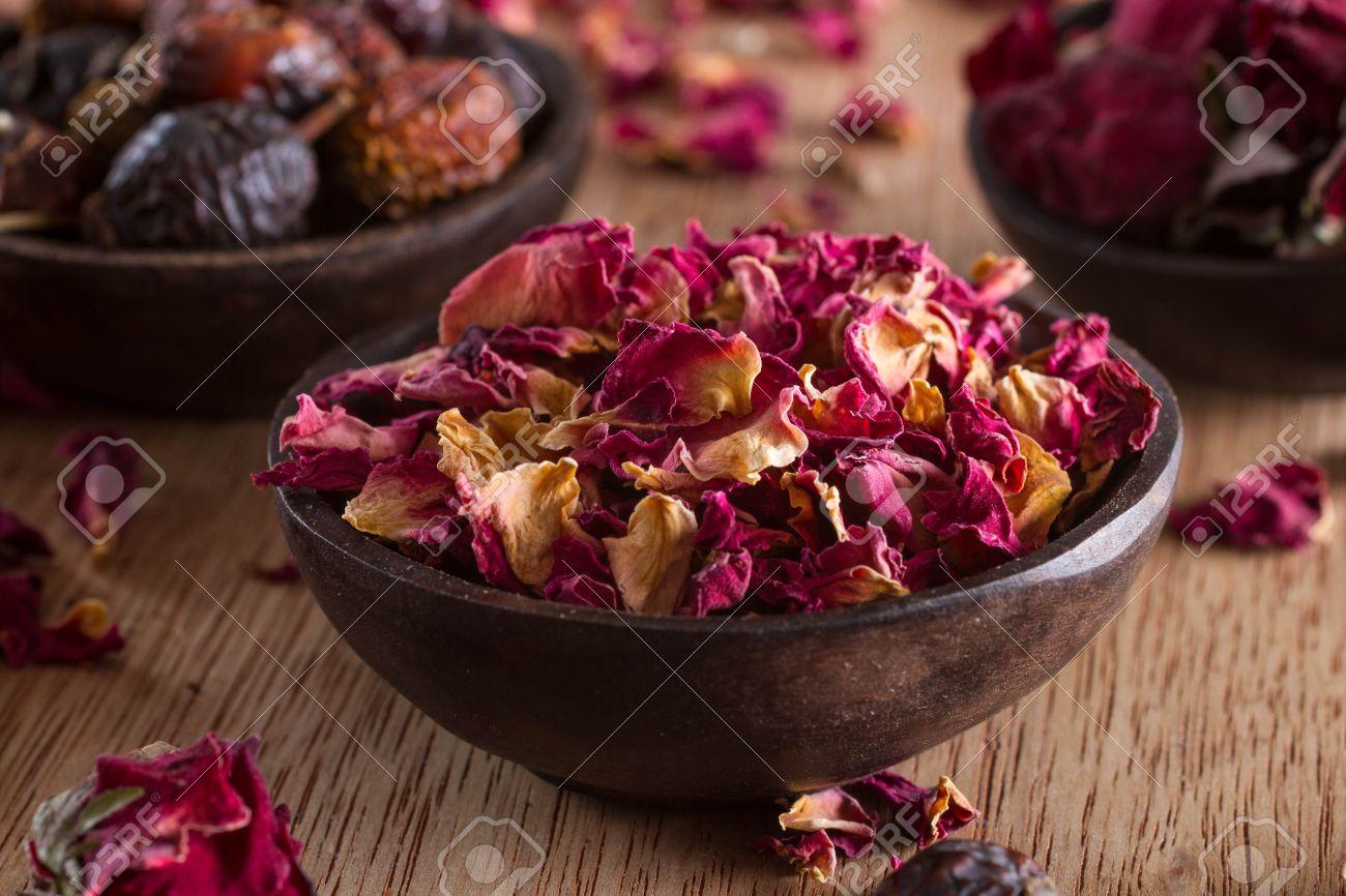 Dried rose petals: for tea, alternative medicine, pot-pourri. Copy space. - 23949194