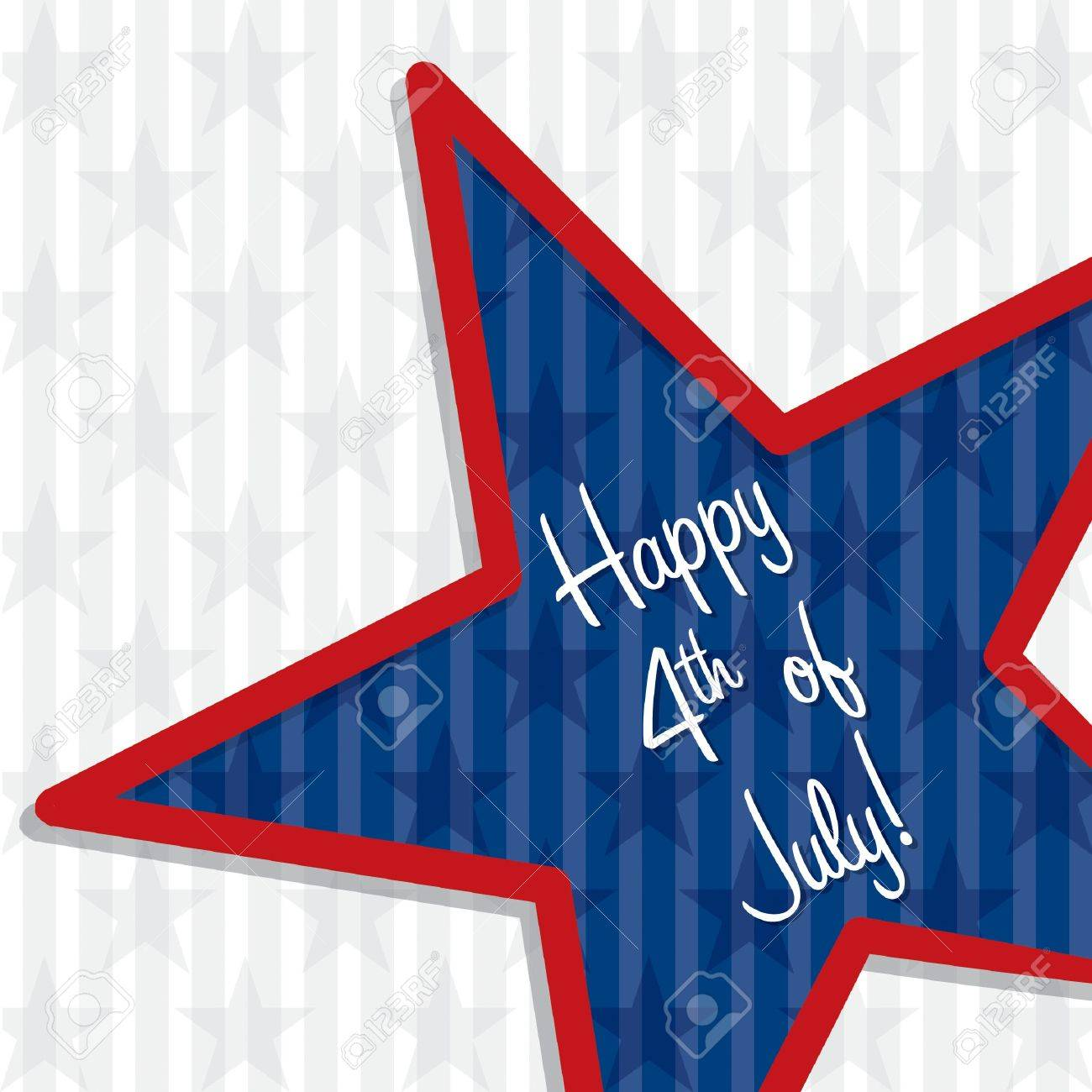 Star cut out Happy 4th of July card in vector format Stock Vector - 19399019