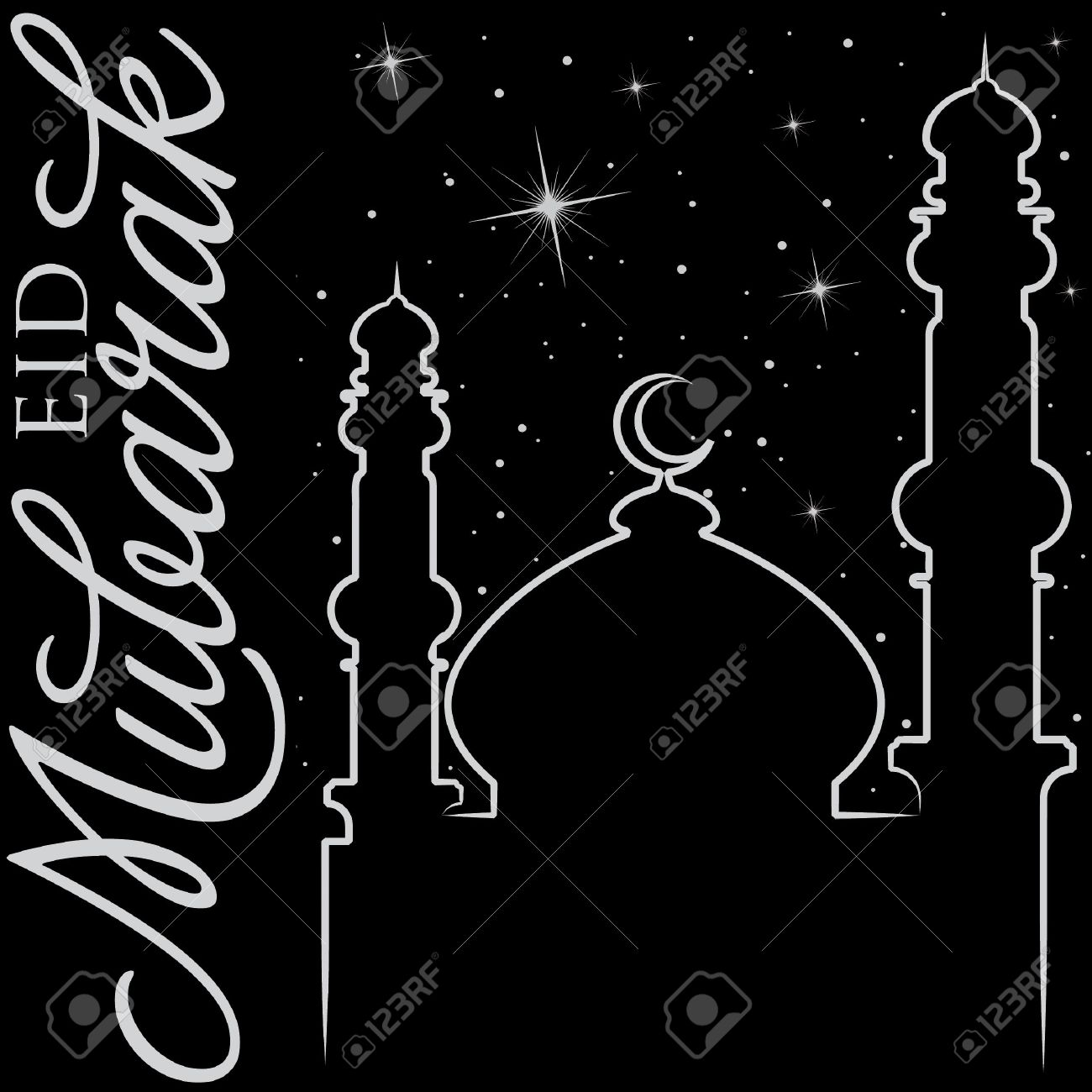 Hand drawn eid mubarak blessed eid greeting card royalty free hand drawn eid mubarak blessed eid greeting card stock vector 19398569 kristyandbryce Image collections