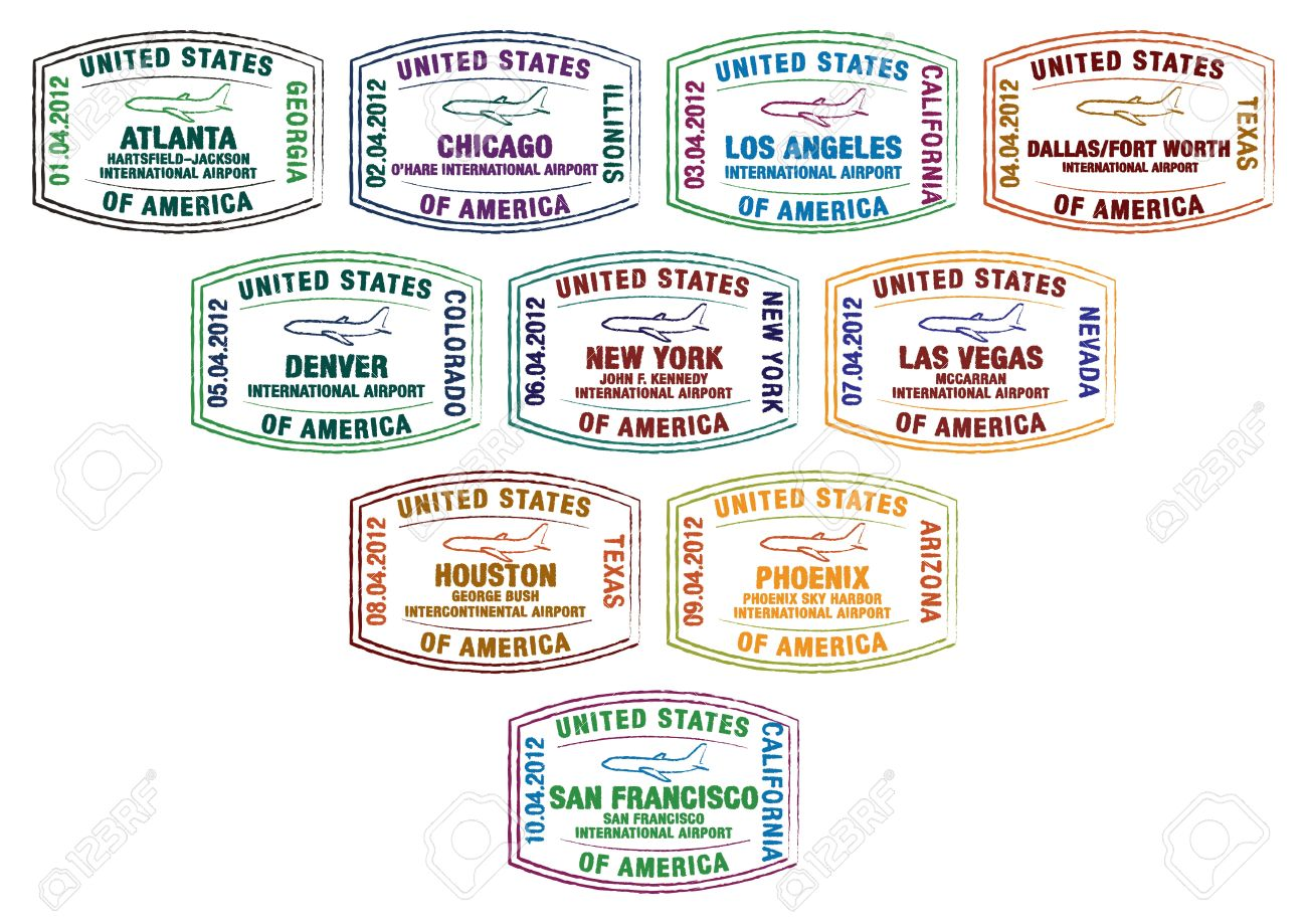 Passport stamps of major US airports - 19401800