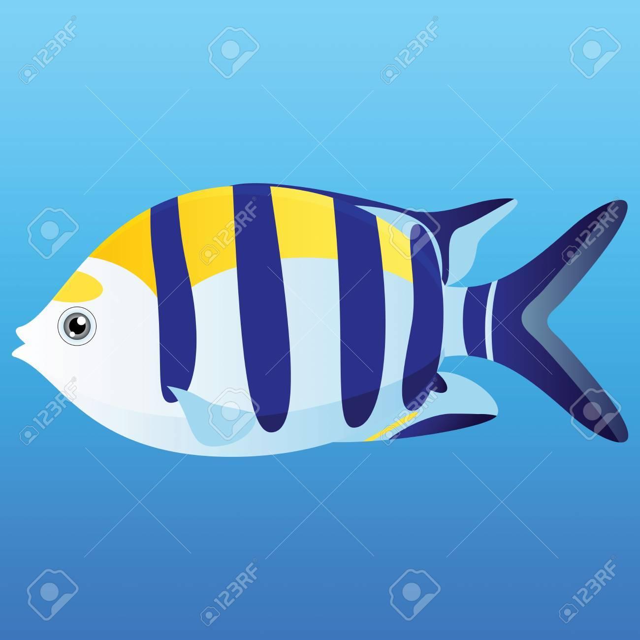 Una Ilustración De Un Color Amarillo, Pescado Seargent Indo-Pacífico ...