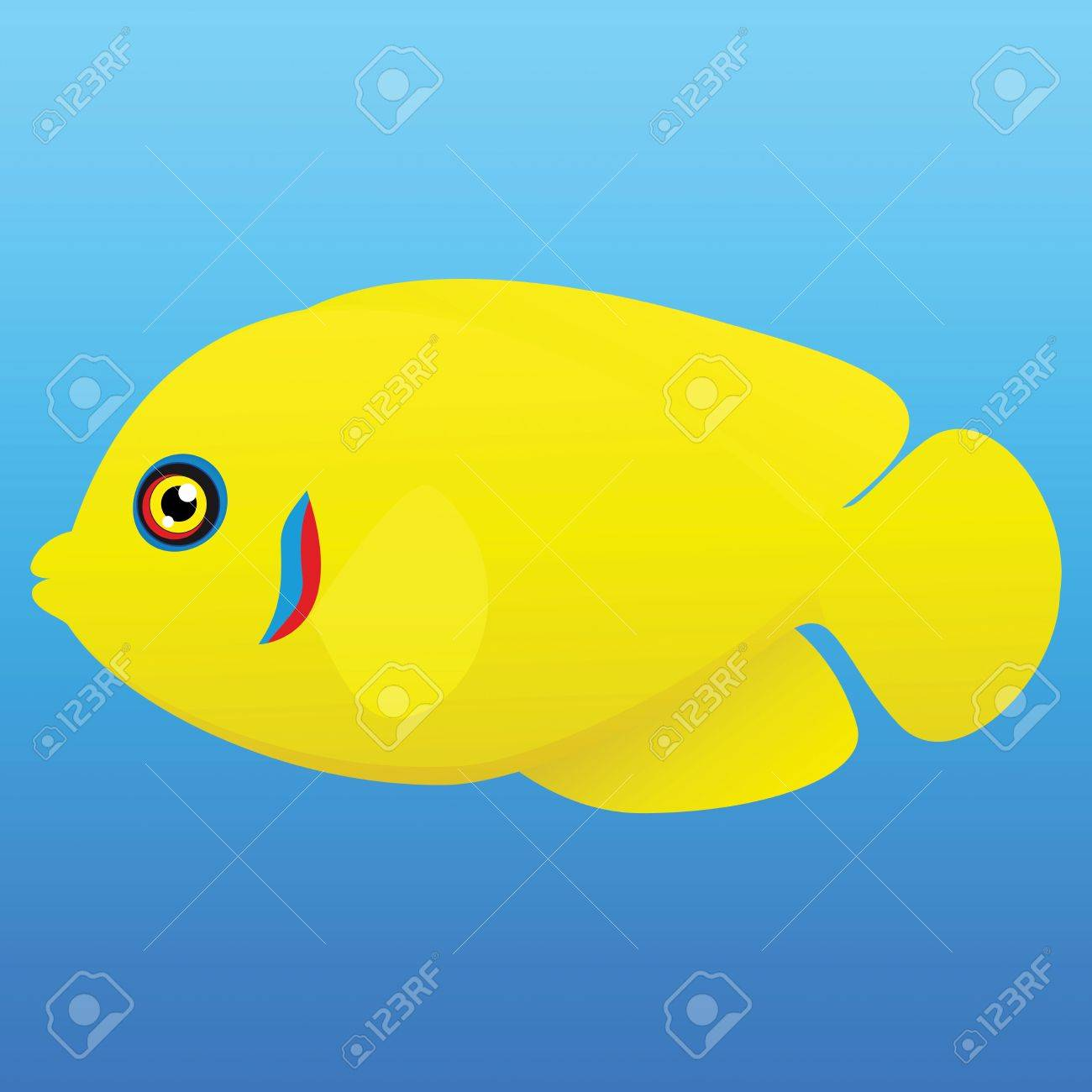 A illustration of a yellow, blue and red lemonpeel angel fish on blue background Stock Vector - 19511117