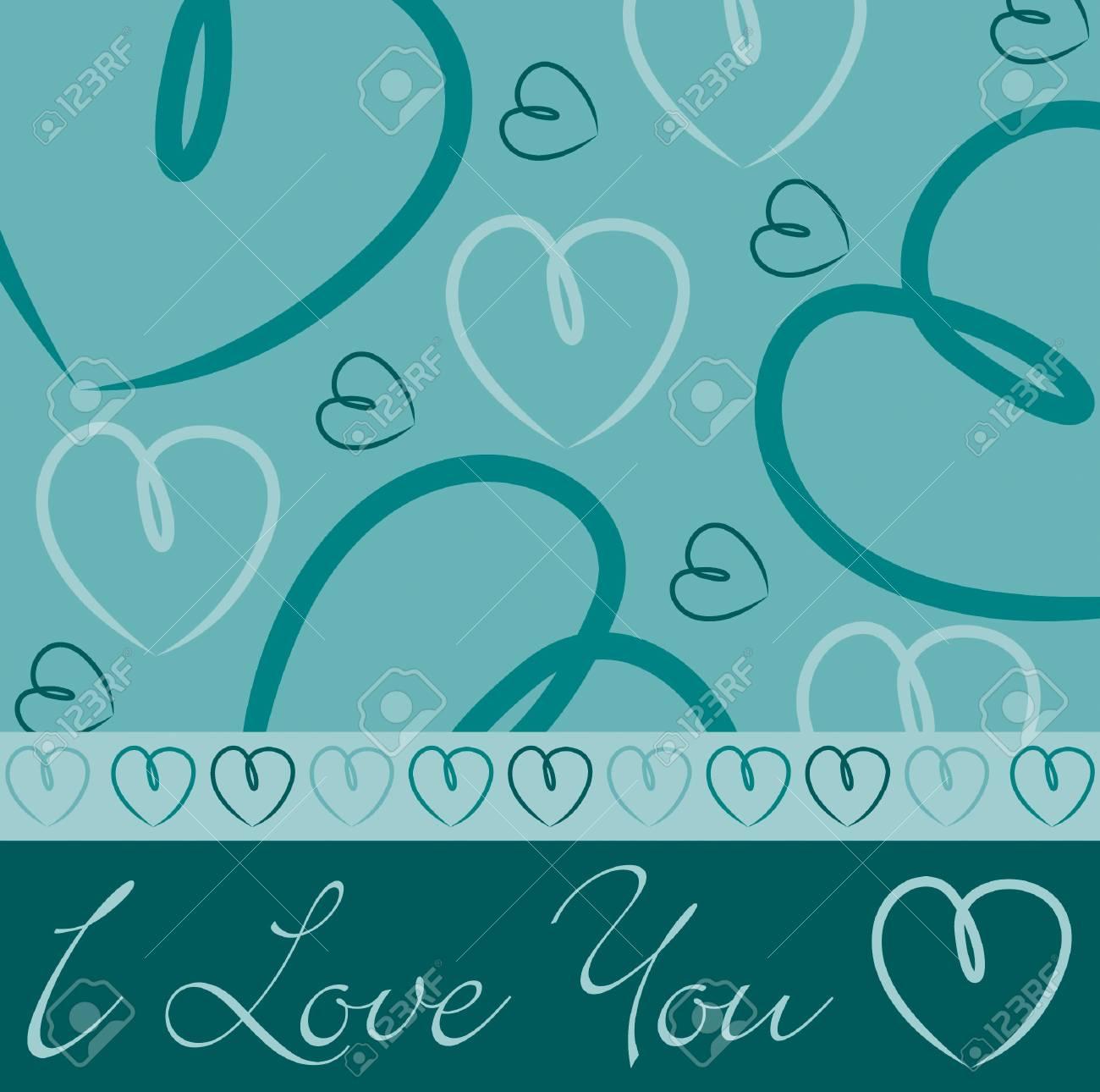 Aqua hand drawn heart card in vector format Stock Vector - 19644638