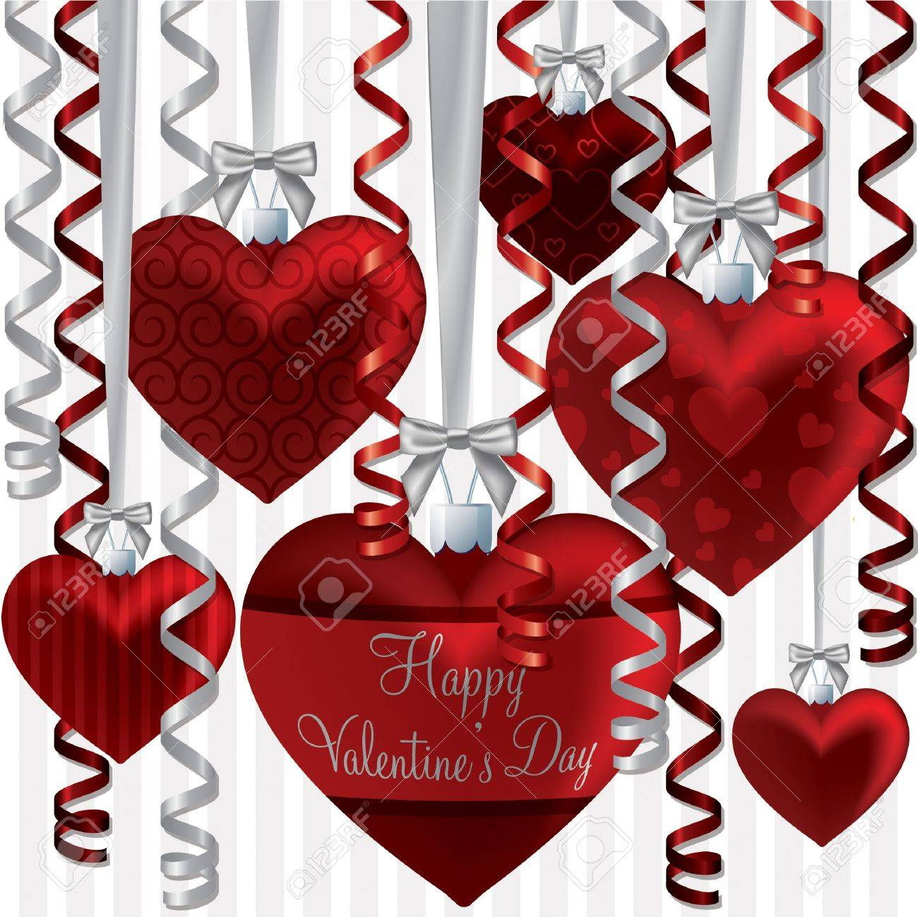 Curling ribbon heart bauble Happy Valentine s Day card in vector format Stock Vector - 19644734