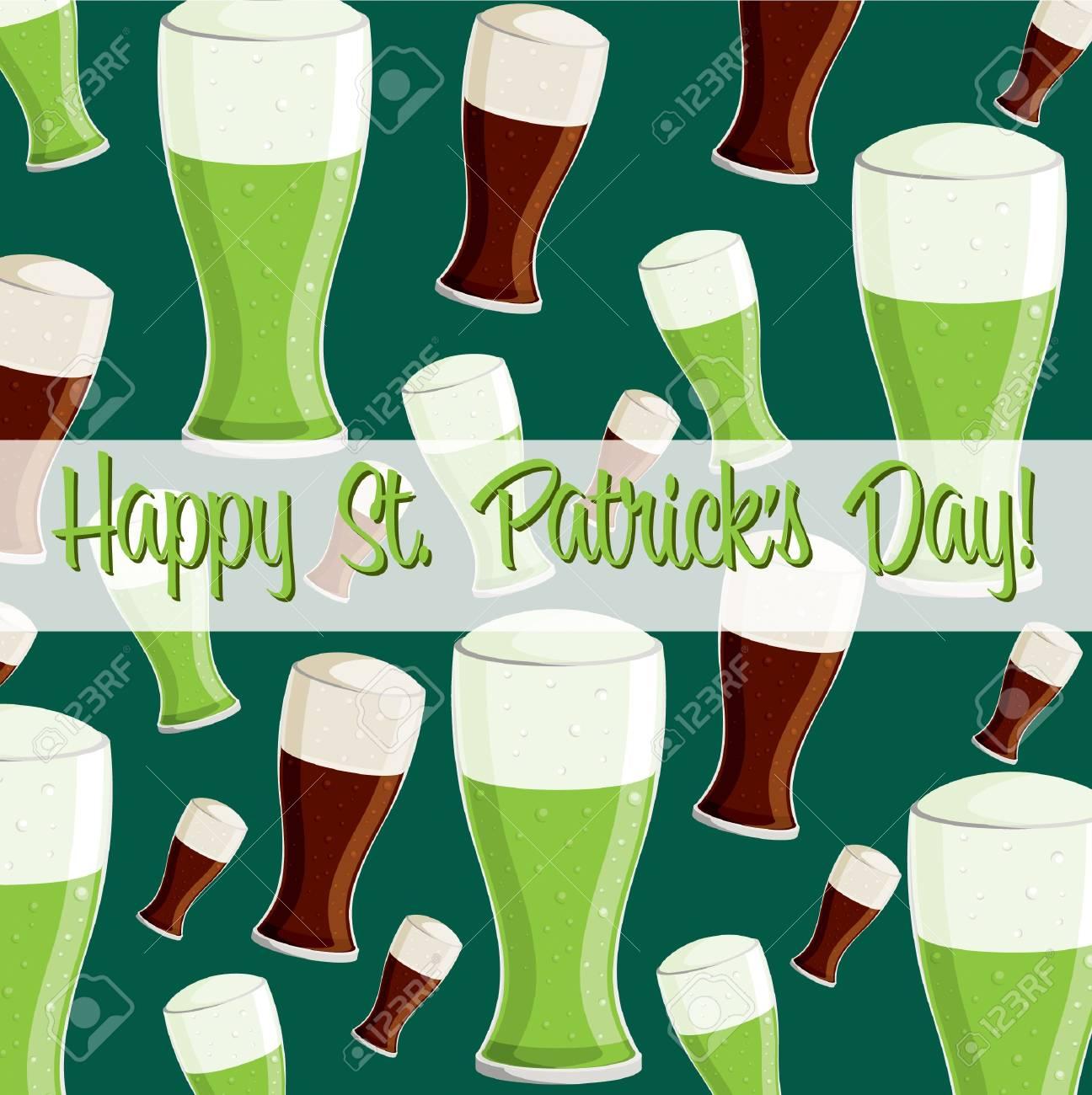 Happy St  Patrick s Day  beer card in vector format Stock Vector - 19644695