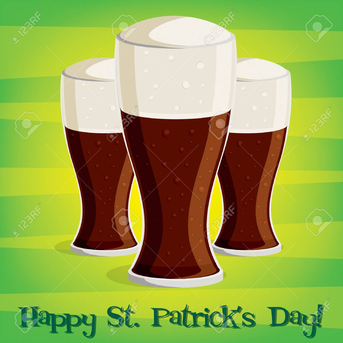 Happy Saint Patrick s Day  beer card in vector format Stock Vector - 19644691