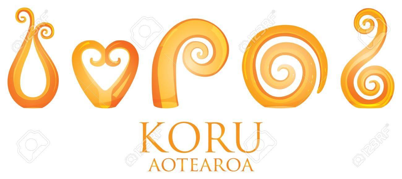 60c071bf40f30 A set of orange glass Maori Koru curl ornaments Stock Vector - 19644731