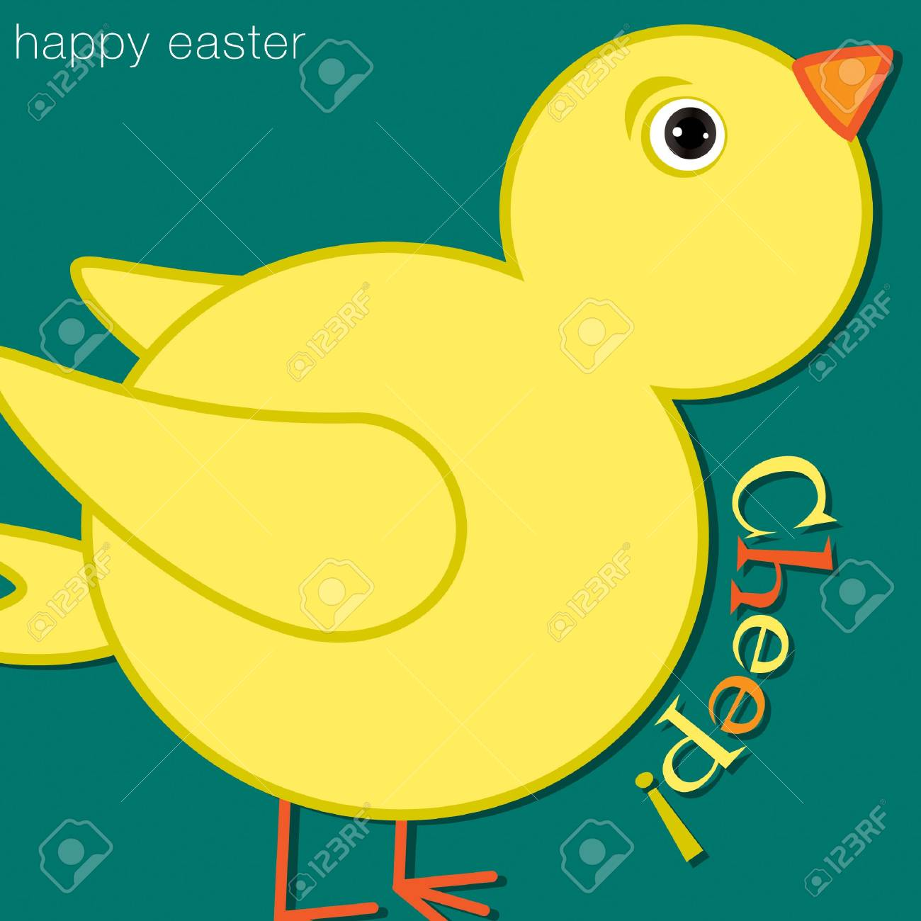 Cheep  Chick Happy Easter Card in vector format Stock Vector - 19734918