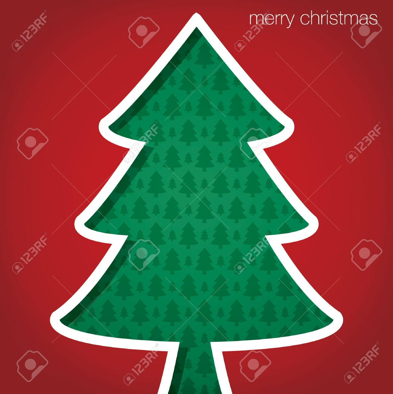 Christmas Tree Merry Cut Out Card Stock Vector