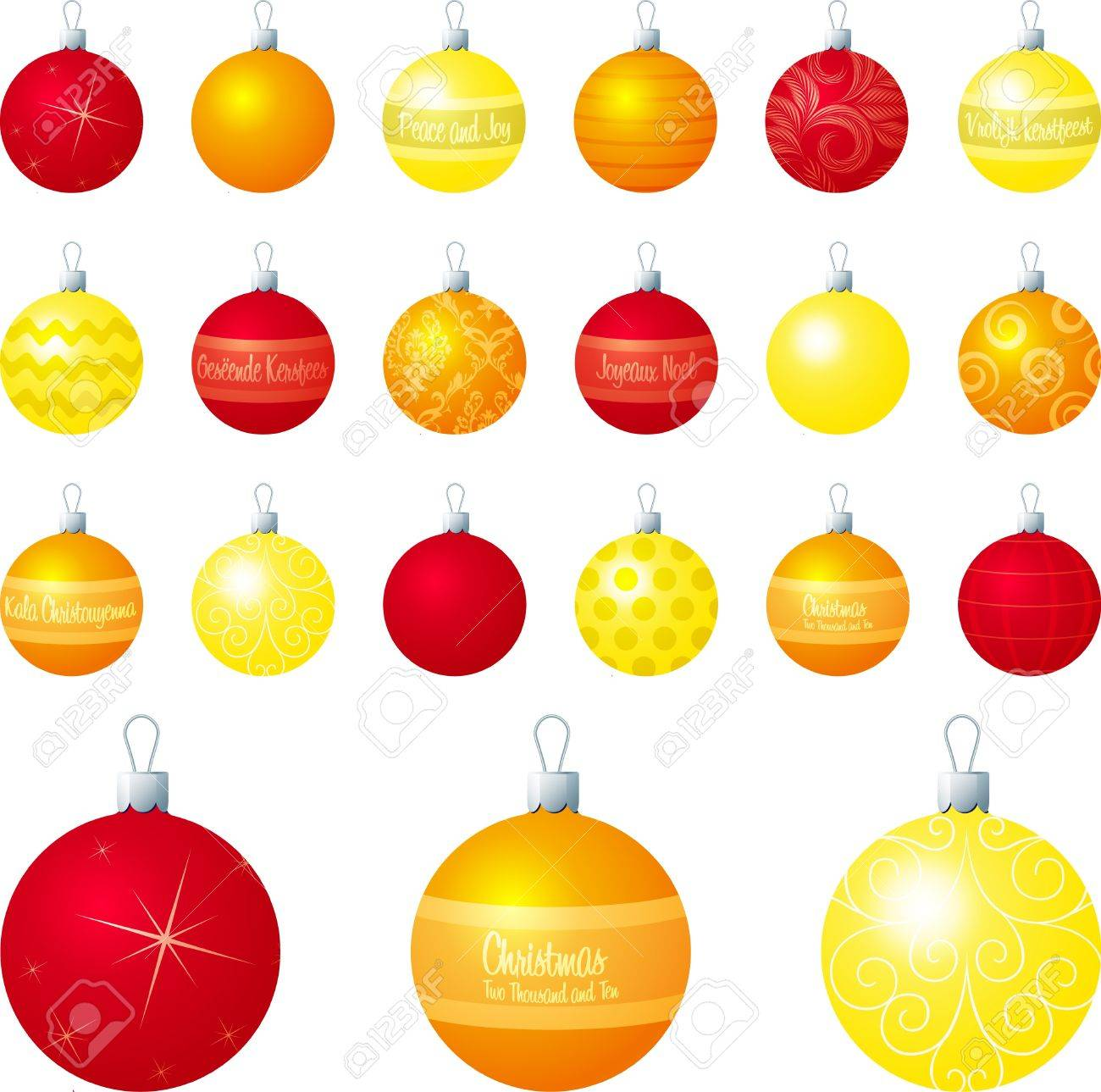 Gelbe Christbaumkugeln.Stock Photo