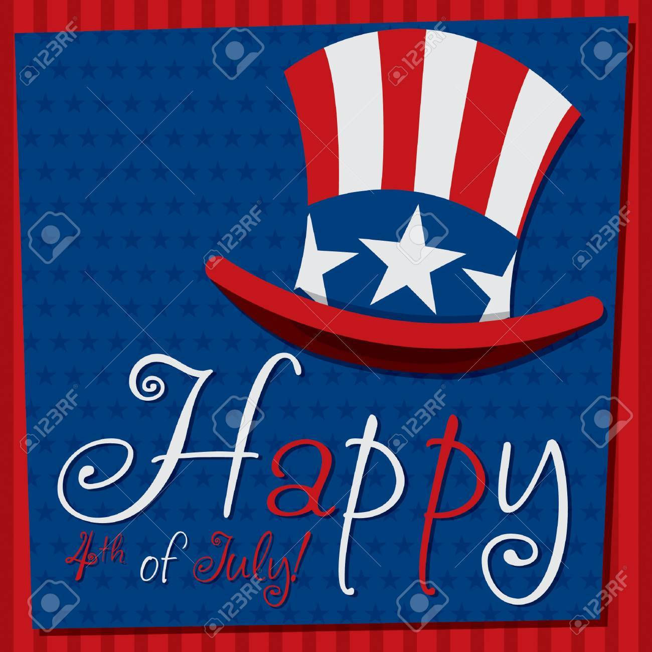 Patriotic Uncle Sam hat 4th of July card Stock Vector - 19902792