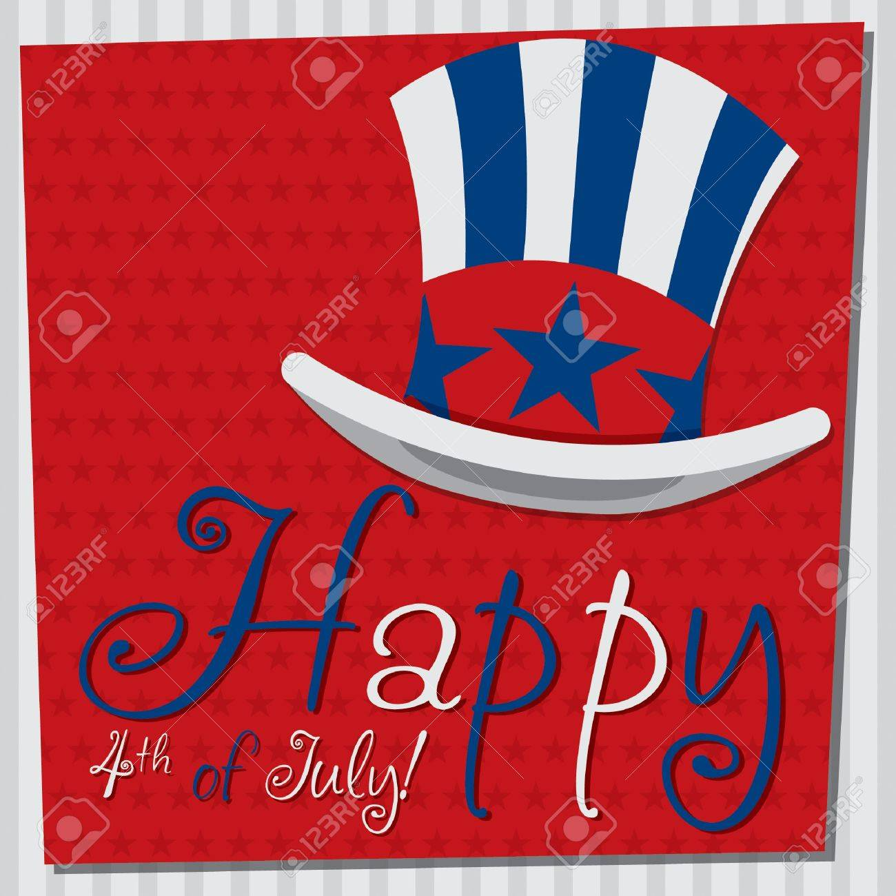 Patriotic Uncle Sam hat 4th of July card in vector format Stock Vector - 19902794