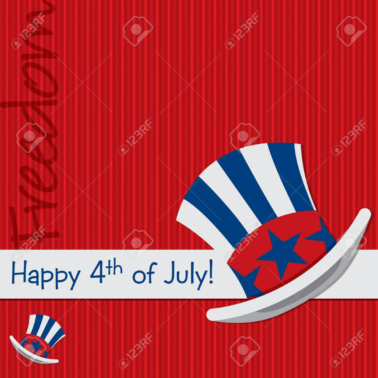 Patriotic Uncle Sam hat 4th of July card in vector format Stock Vector - 19890295