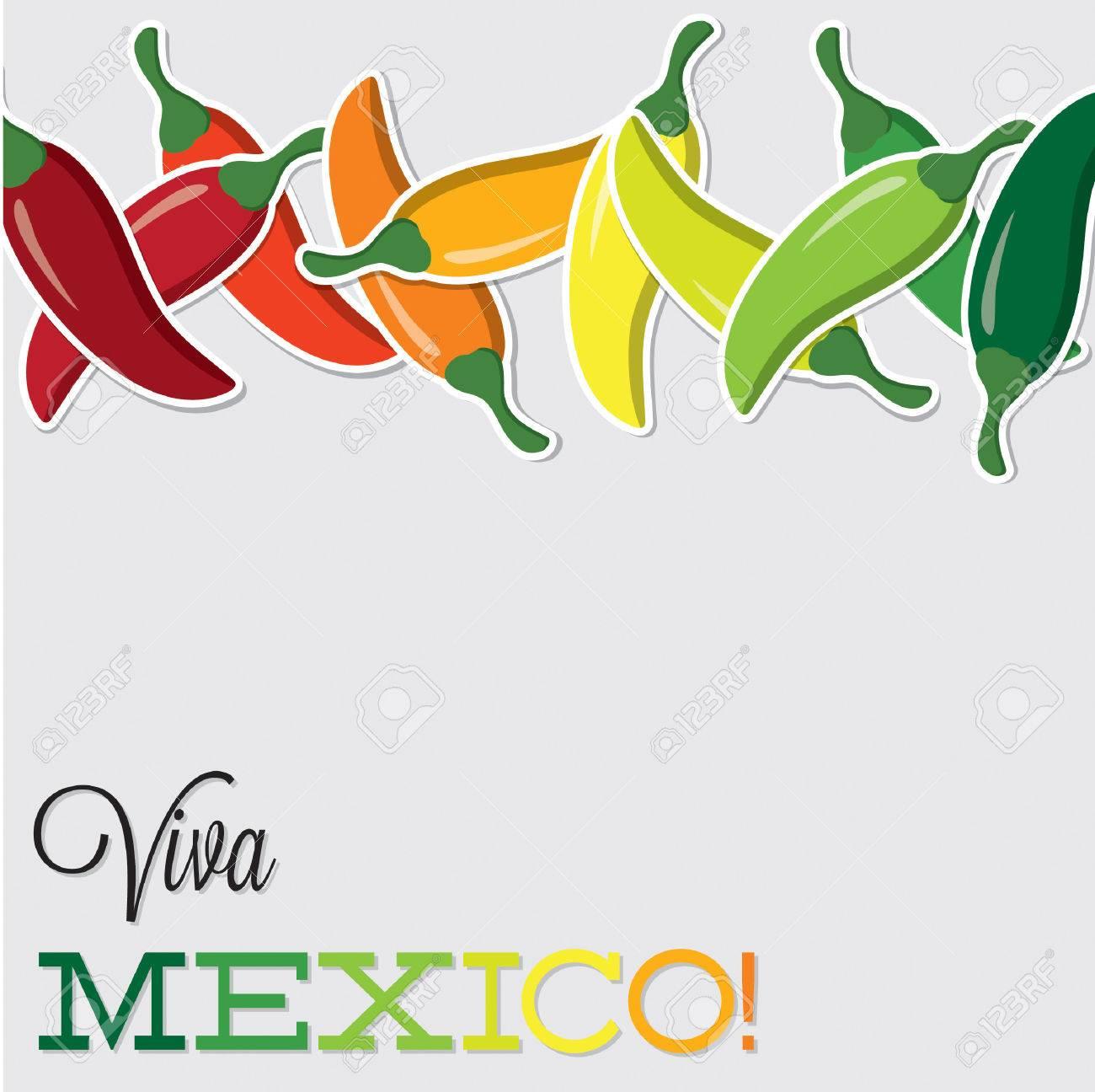 Viva Mexico chilli card in vector format - 27596838