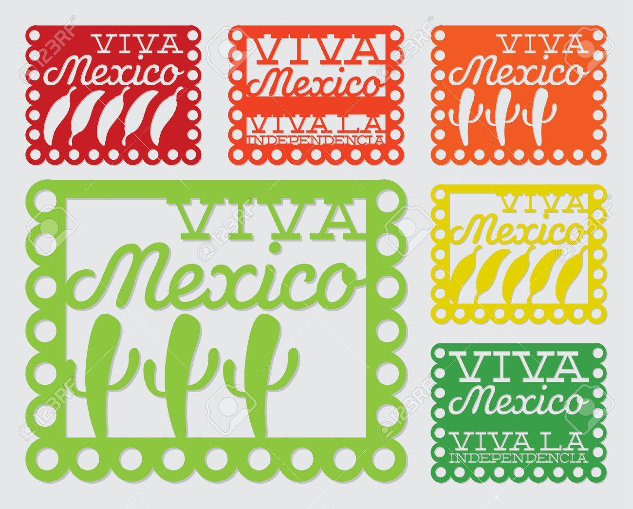 mexican papel picado paper flag decoration set in vector royalty