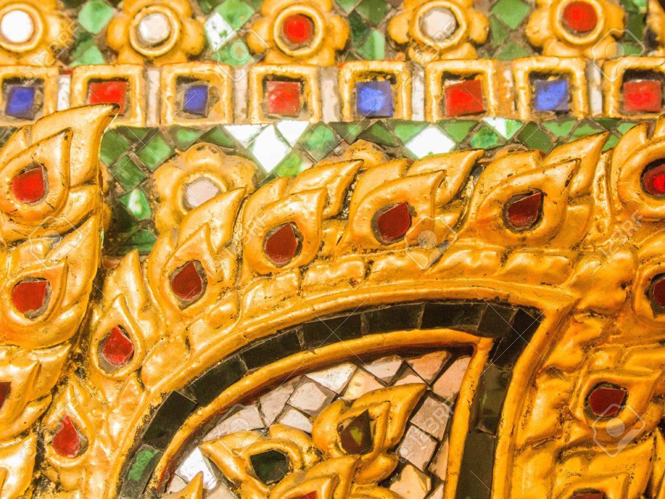 the surface decoration of the base of the Reclining Buddha at Wat Rachaorasaram Ratchaworawihan ,Bangkok ,Thailand Stock Photo - 17378367