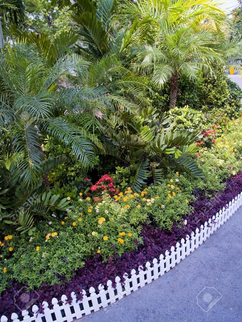 Piante Per Recinzioni Giardino.Un Piccolo Giardino Con Piante Ornamentali Colorate Ed E Delimitata Da Recinzione Bianco Woody