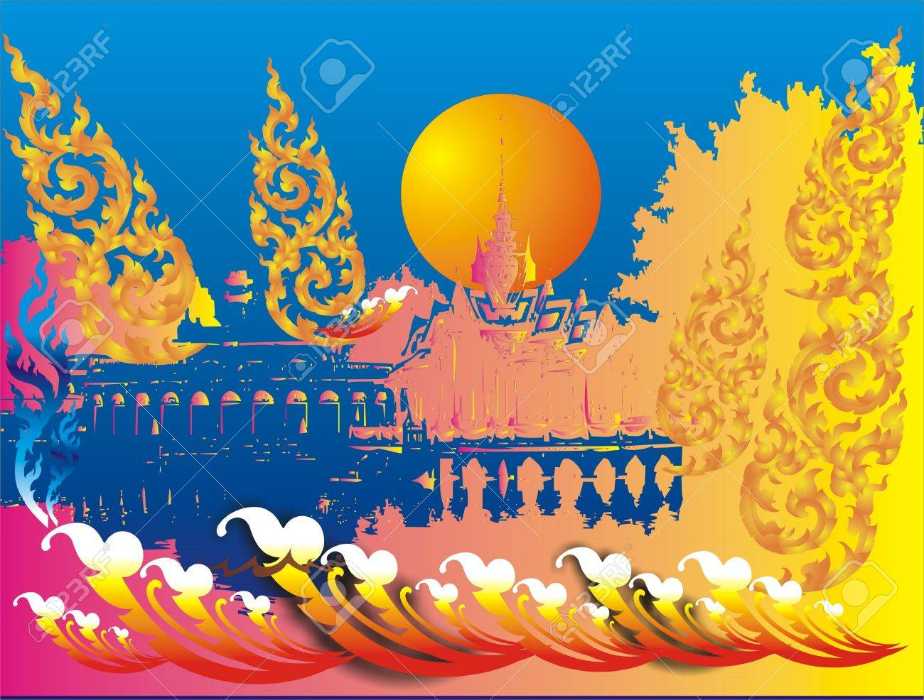 Royal Thai architecture Stock Vector - 13276591