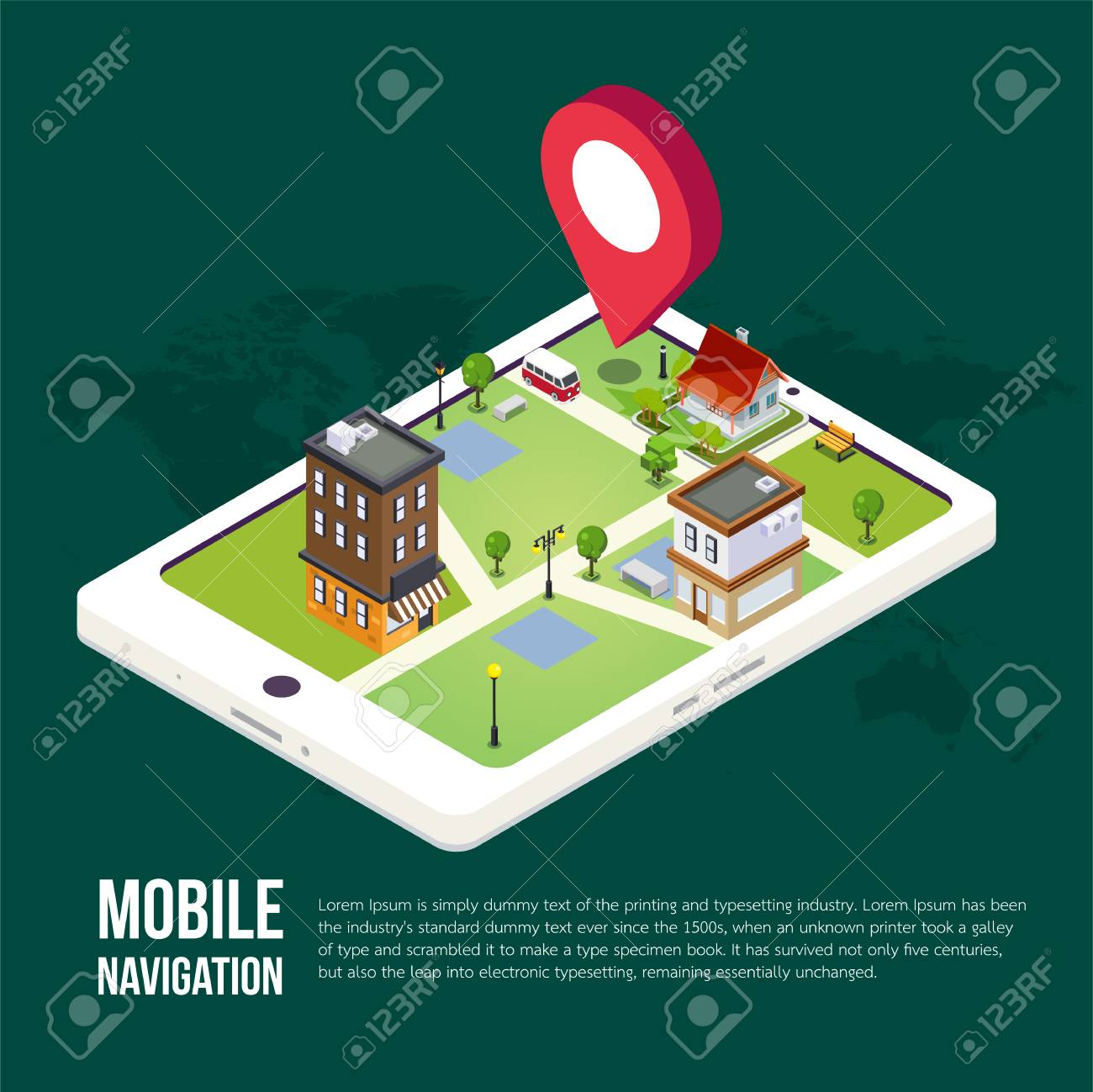 3d isometric mobile GPS navigation concept, Smartphone with city map application and marker pin pointer, vector Archivio Fotografico - 84063553