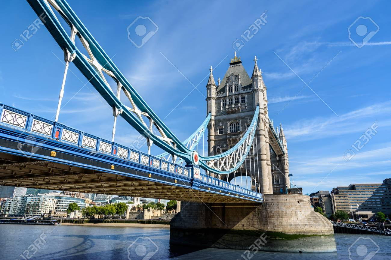 View Of Famous Tower Bridge Over The River Thames London UK