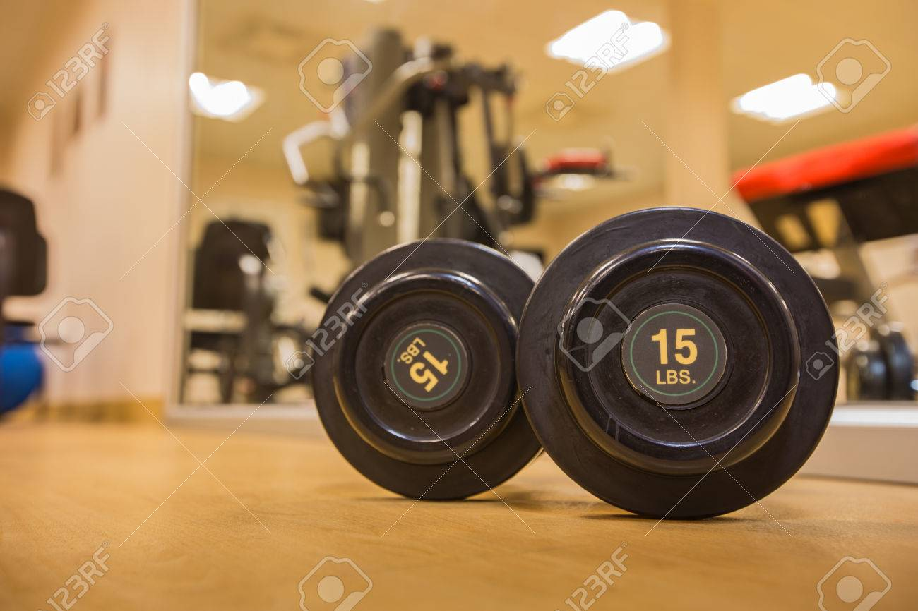 Drumbell lb size in gym room for exercise weight training